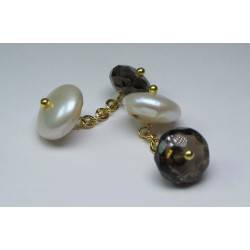 Brass cufflinks with pearls and smoky quartz