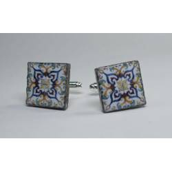 Cufflinks with enamelled lava lapilli (Vietri design)