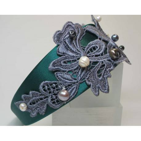 Headband in petrol green satin with grey lace and pearls