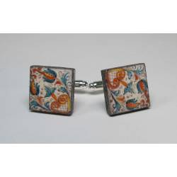 Square cufflinks with enamelled lava lapilli (Deruta design)