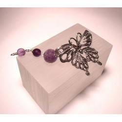 Silver butterfly pendant with amethyst