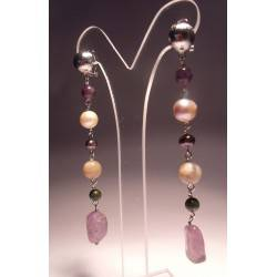 Earrings with pearls, amethyst, jade, moonstone