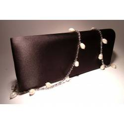 Satin clutch with white pearls