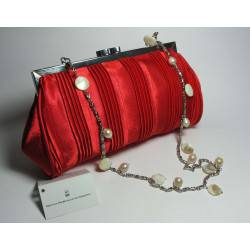 Red satin clutch with mother of pearl and white pearls