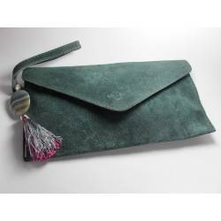 Light blue leather clutch with tassel, pearl and agate