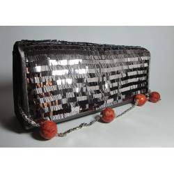 Gray satin clutch with paillettes, madrepora and pearls