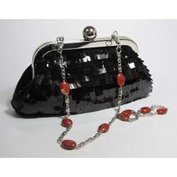 Mini-clutch with pailletes and red jasper
