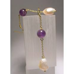 Earrings with 1st quality freshwater pearls and amethyst
