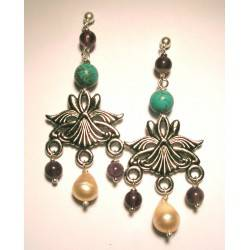 Chandelier earrings with pink freshwater pearls, amethyst and turquoise paste