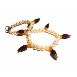 Necklace with pearls, amethyst and citrine quartz