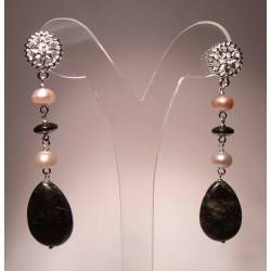 Earrings with pearls, astrophyllite and hematite