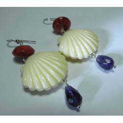 Silver earrings with amethyst, madrepora (sponge coral) and resin