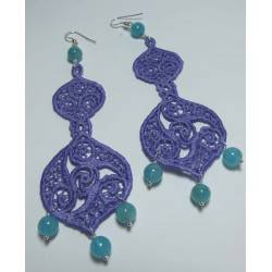 Silver chandelier earrings with embroidery and angelite
