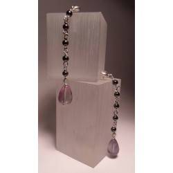 Silver earrings with fluorite and hematite