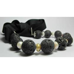 Lava stone necklace with pearls and gros-grain ribbon