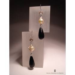 Silver earrings with pearls, onyx and smoky quartz