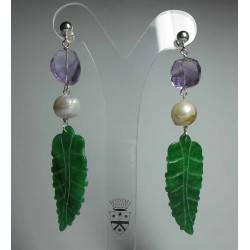 Silver earrings with Burma jade, pearls and amethyst
