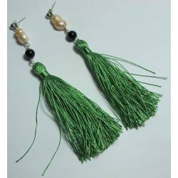 Earrings with silk tassels, onyx and pearls