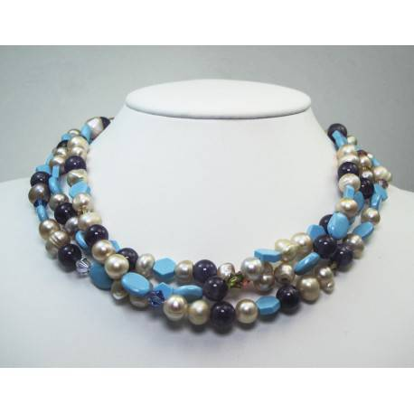 Multi strand necklace with pearls, amethyst, turquoise and Svarovski crystal