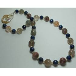 Necklace with rutilated quartz, lapis lazuli and micro pearls