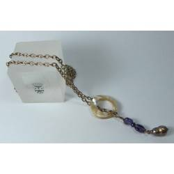 Up and down necklace with pearls, amethyst and mother of pearl