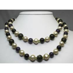 Long necklace with pearls, amethyst, labradorite, garnet and peridot