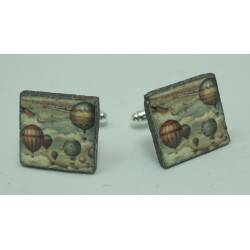 Cufflinks with enamelled lava lapilli