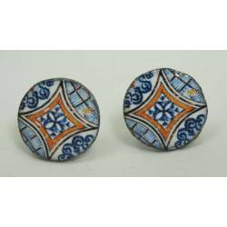 Cufflinks with enamelled lava lapilli (blu and yellow)