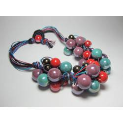 "Necklace in cotton melange (turquoise, purple, black, blue and red) with ""grapes"" of ceramic"