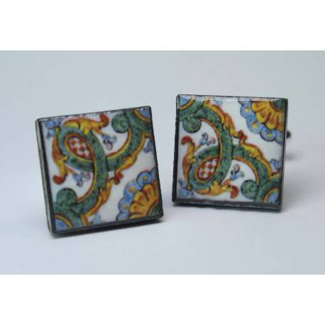 Cufflinks with enamelled lava lapilli (Caltagirone)