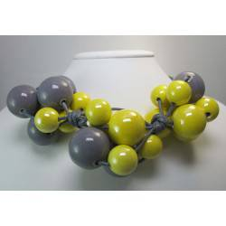"Necklace in grey cotton with ""grapes"" of yellow and gray ceramic"