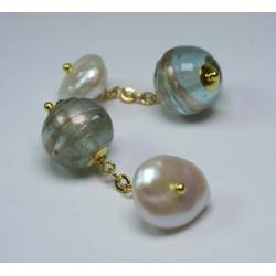 Cufflinks with venetian glass (murrine) and pearls