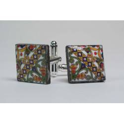 Cufflinks with enamelled lava lapilli (cassata design)