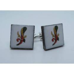Cufflinks with enamelled lava lapilli (asso design)