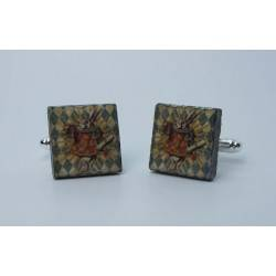 Cufflinks with enamelled lava lapilli (White Rabbit design)