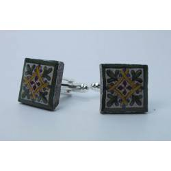 Cufflinks with enamelled lava lapilli (green and yellow mattonella design)