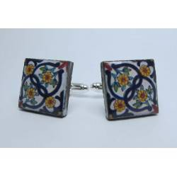 Cufflinks with enamelled lava lapilli (sunflowers design)