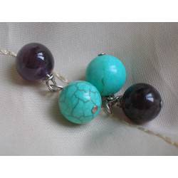 Cufflinks with amethyst and turquoise