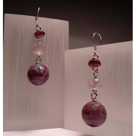 Silver earrings with ruby zoisite, amethyst and garnet