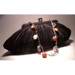 Black satin clutch with pleated pattern, pearls, amethyst and madrepora