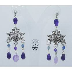 Chandelier earrings with amethyst and kyanite