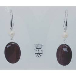 Earrings with falcon eye and pearls
