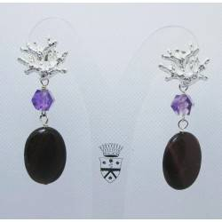 Earrings with falcon eye and amethyst