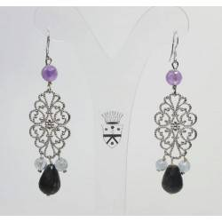 Silver earrings with aquamarine, amethyst and astrophyllite
