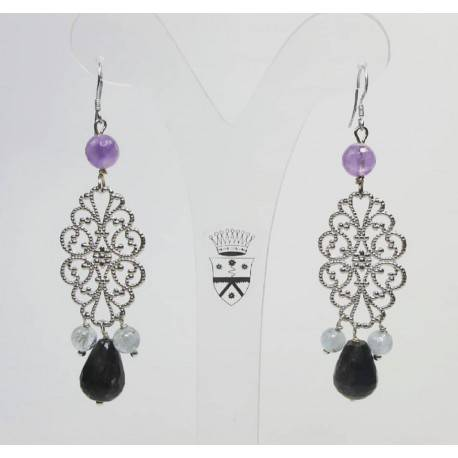 Silver earrings with prehnite, amethyst and astrophyllite
