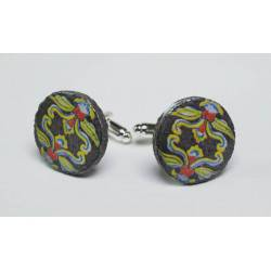 Cufflinks with enamelled lava lapilli (garland design)
