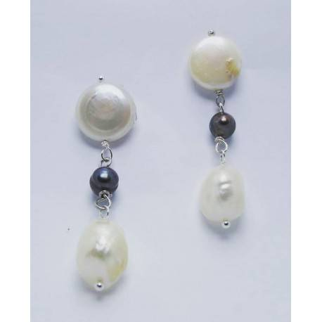Earrings with white and grey baroque freshwater pearls