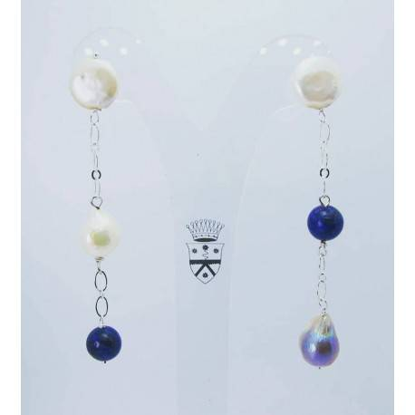 Earrings with baroque pearls, lapis lazuli and aluminium chain