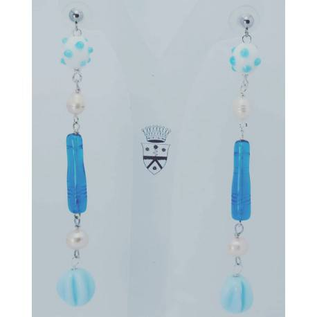 Earrings with pearls and blue bohemian glass