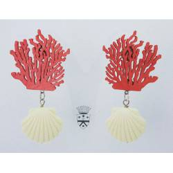 Earrings with wood coral and resin shell
